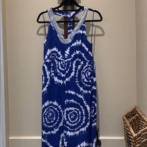 INC Sundress Blue and White w Silver Neckline